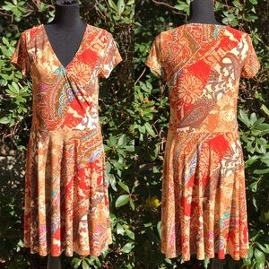Ralph Lauren Faux Wrap Dress Boho Chic Print Large